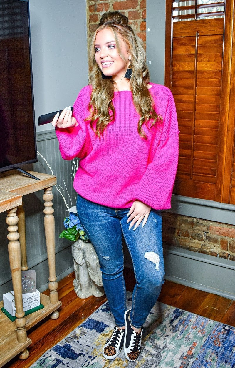 Load image into Gallery viewer, Unstoppable Feeling Oversized Sweater - Hot Pink
