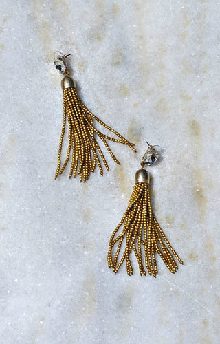 Up Bead Tassel Earrings