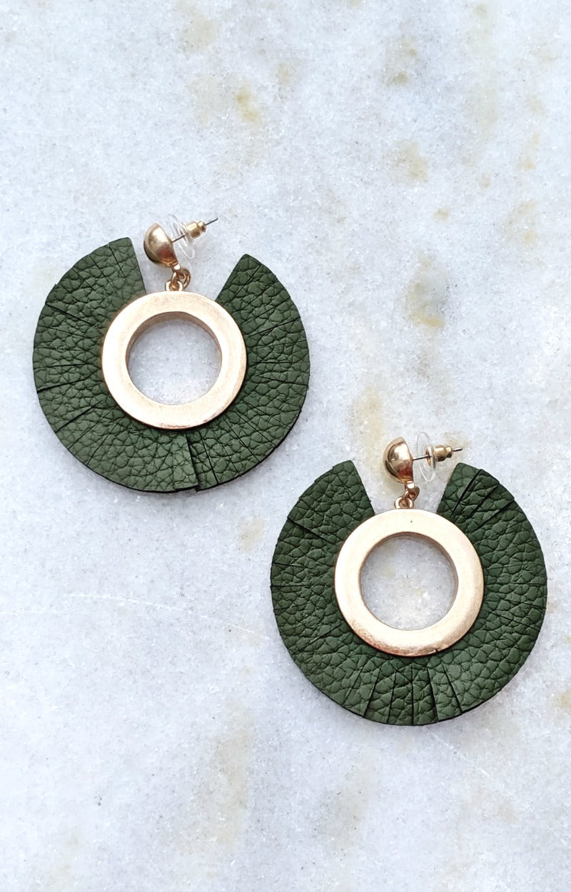 Got You Figured Out Earrings - Olive