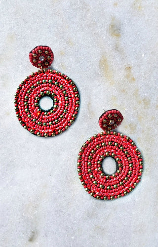 Fall In Love Earrings - Red