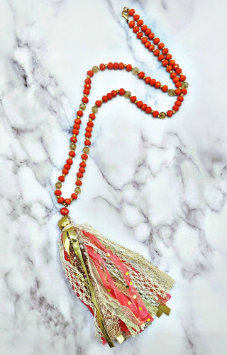 By My Side Necklace - Coral