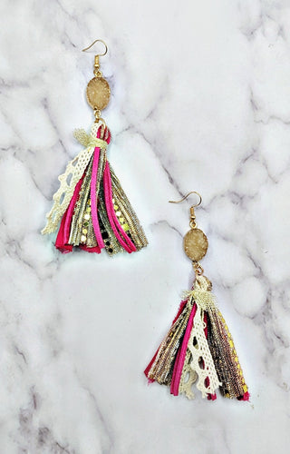 So Intent Earrings - Fuchsia