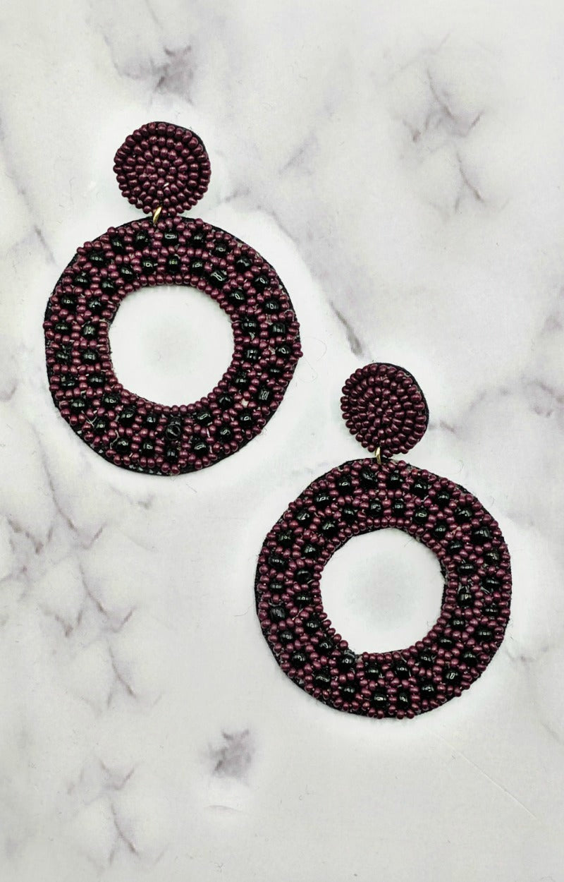 Load image into Gallery viewer, Chances Are High Earrings - Burgundy