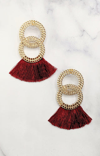 Staying On Track Earrings - Wine