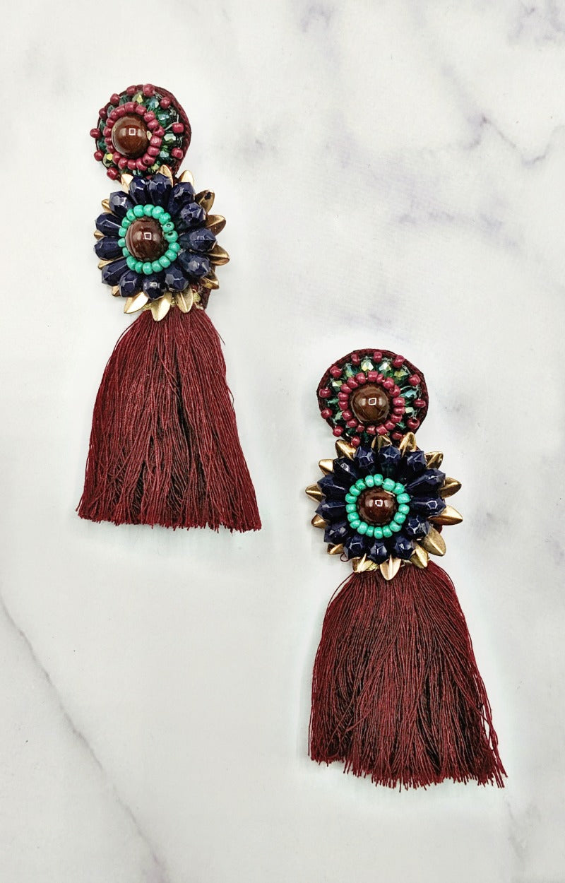 Load image into Gallery viewer, Take A Chance Earrings - Burgundy