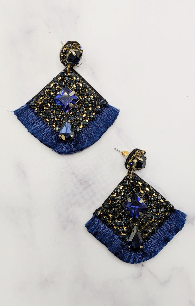 Load image into Gallery viewer, Don't Waste A Moment Earrings - Navy