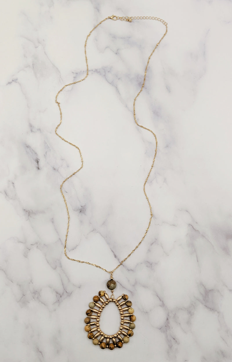 Put On A Show Necklace - Brown/Gold