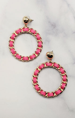 Crazy For You Hoop Earrings - Pink