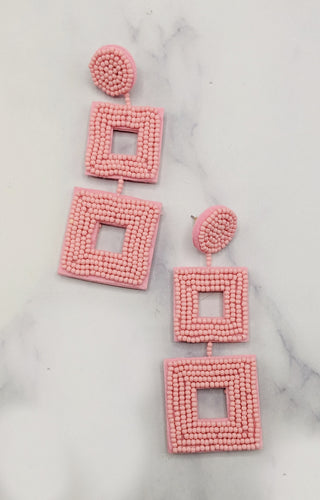 Working On It Earrings - Baby Pink