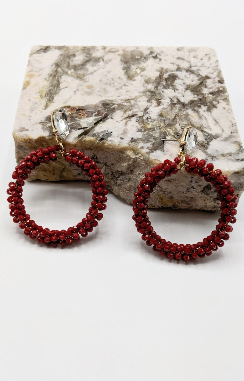 Double Trouble Earrings - Burgundy