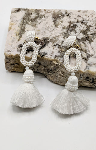 Make My Life Easy Earrings - White