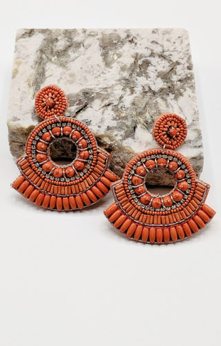 Take The Lead Earrings - Coral