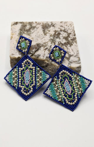Baby One More Time Earrings - Blue Multi