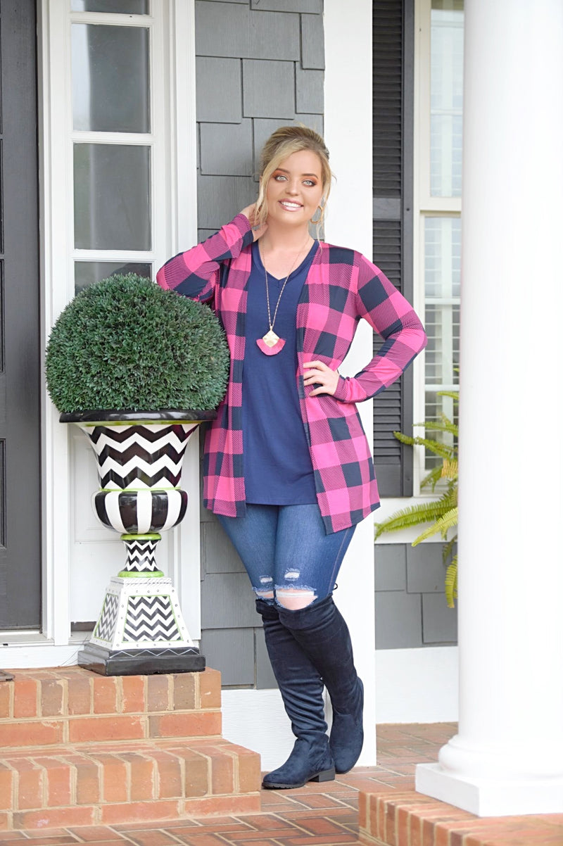 Take You Seriously Plaid Cardigan - Navy/Fuchsia