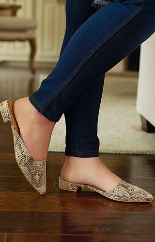 Within Striking Distance Snake Print Mules