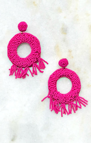 Asking Myself Earrings - Fuchsia