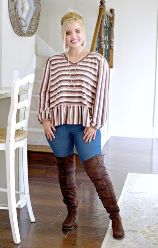No Guidelines Striped Top - Pink/Mocha