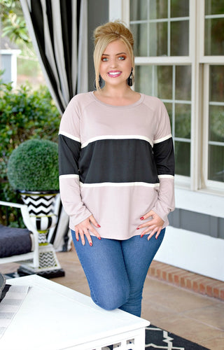 Cutting Edge Colorblock Top - Mauve/Black