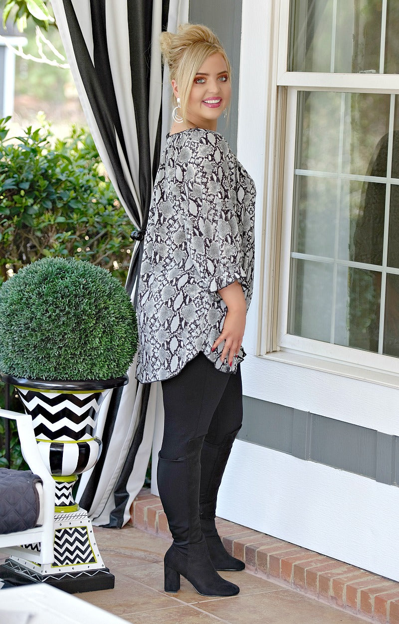 Create A Scene Snake Print Tunic Top - Gray