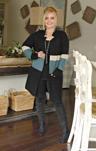 At A New Level Colorblock Cardigan - Black