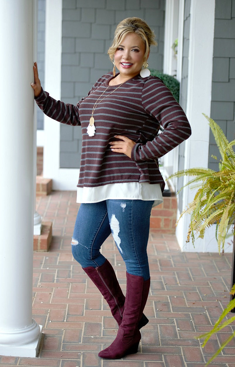Load image into Gallery viewer, Appeal To Your Senses Striped Sweater - Burgundy