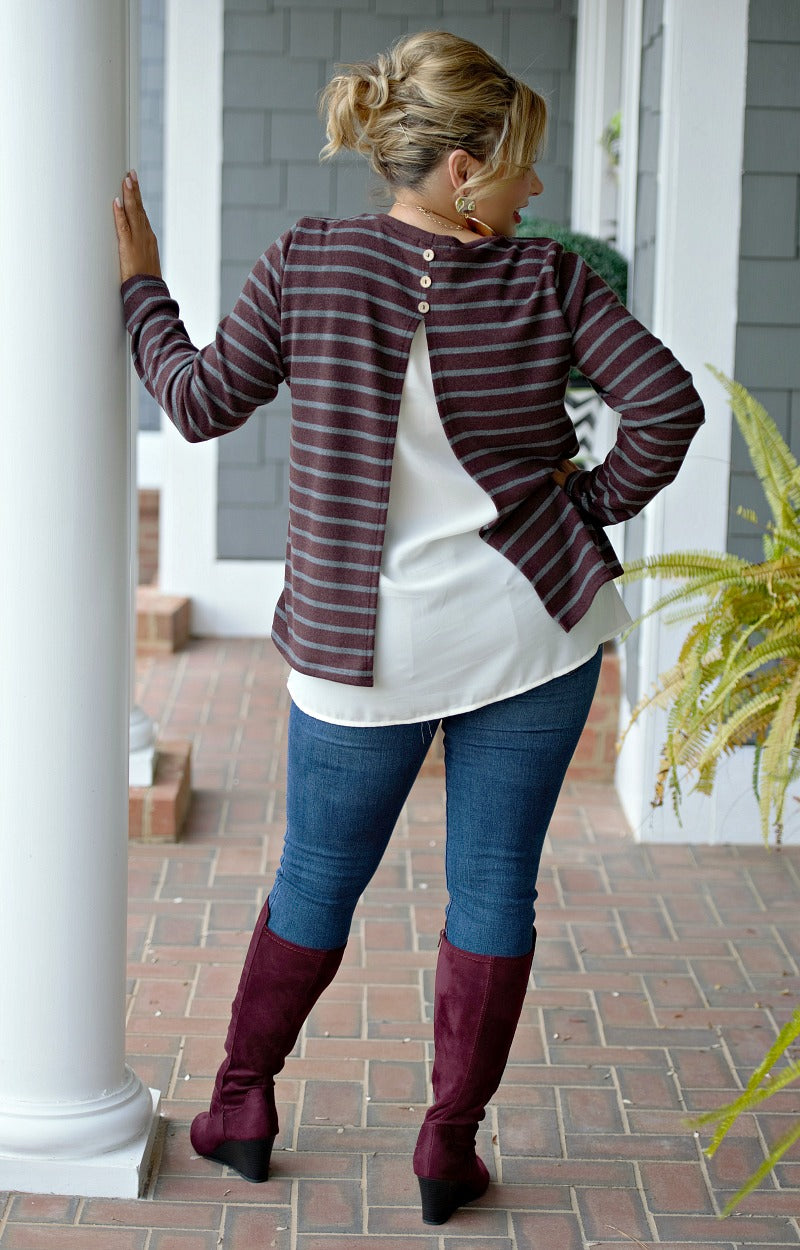 Appeal To Your Senses Striped Sweater - Burgundy