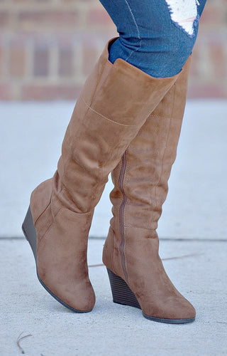 Living Fierce Wedge Boots - Brown
