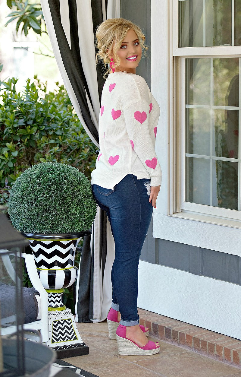 Load image into Gallery viewer, So In Love Sweater - White/Pink
