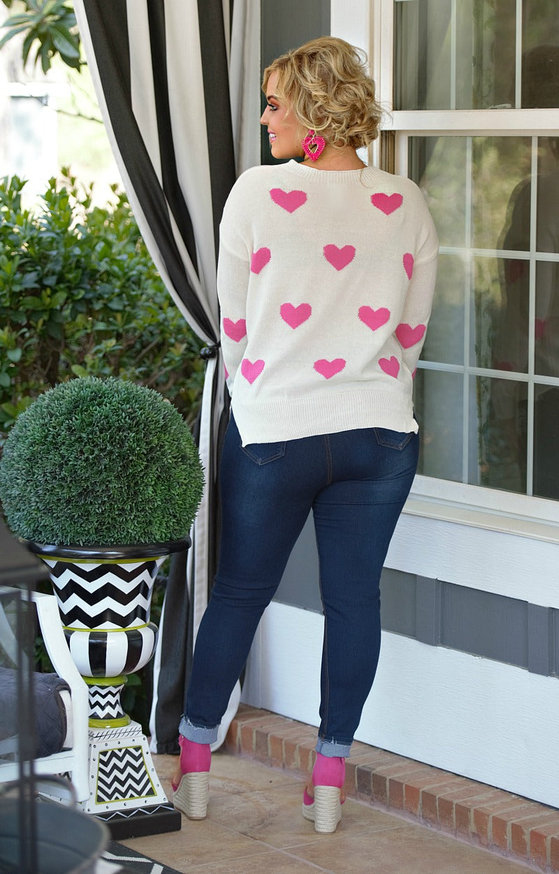 So In Love Sweater - White/Pink