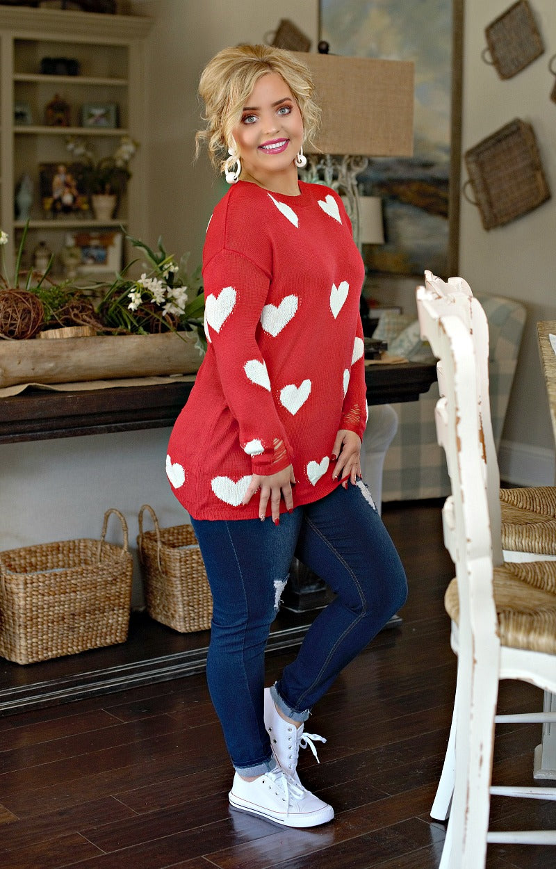 Give You My Heart Distressed Sweater - Red