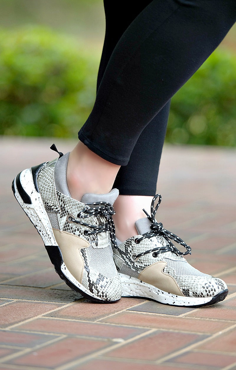 Load image into Gallery viewer, Places To Be Snake Print Sneakers