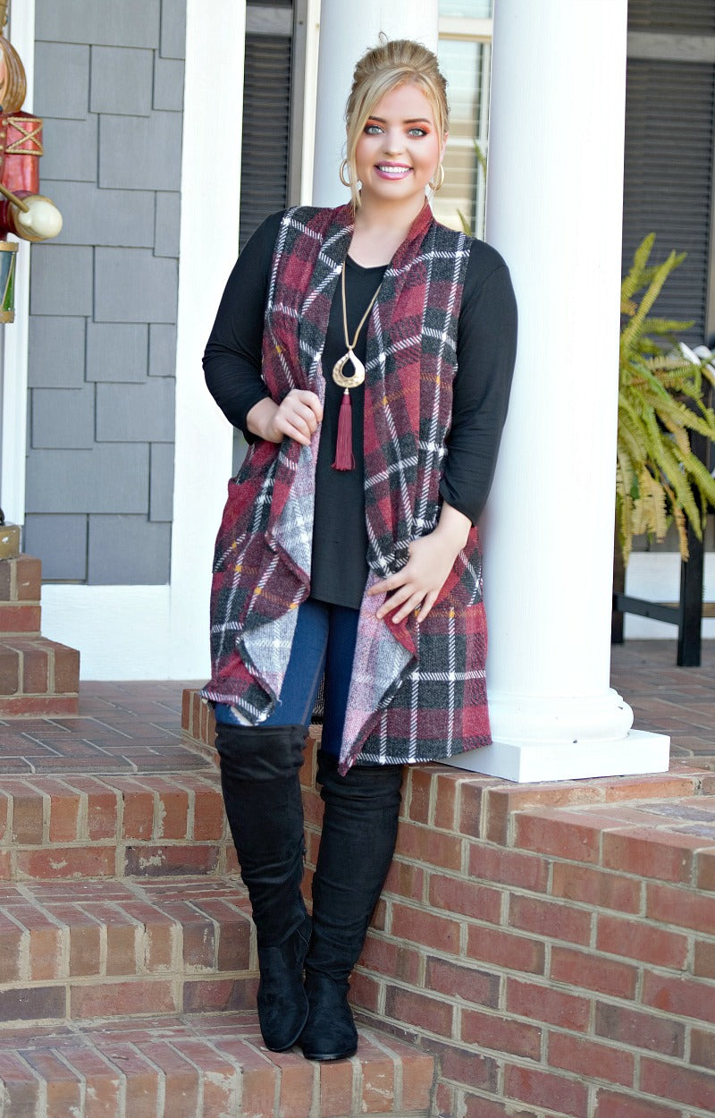 The Real Thing Plaid Vest - Burgundy