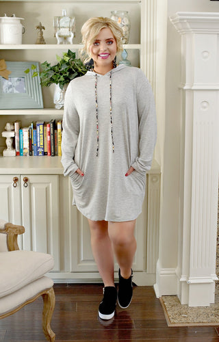 Casual Feeling Hooded Dress - Heather Gray