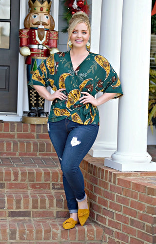 Always Pretty Print Wrap Top - Hunter Green
