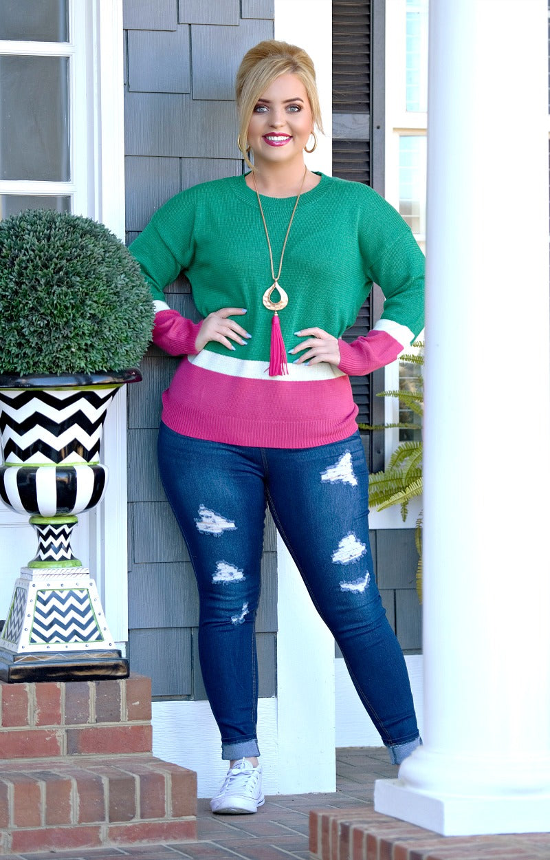 The Whole Truth Colorblock Sweater - Emerald/Fuchsia