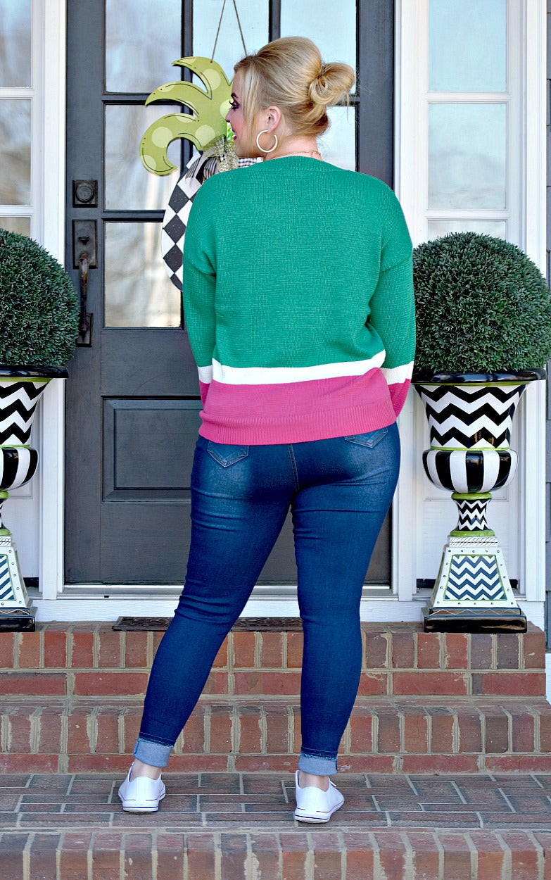 Load image into Gallery viewer, The Whole Truth Colorblock Sweater - Emerald/Fuchsia