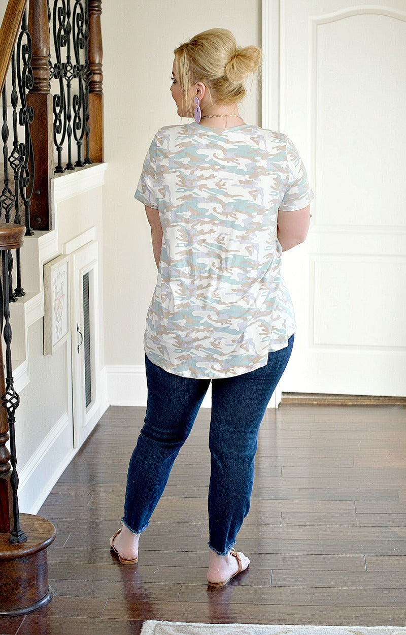 Load image into Gallery viewer, In The Shadows Camo Print Top