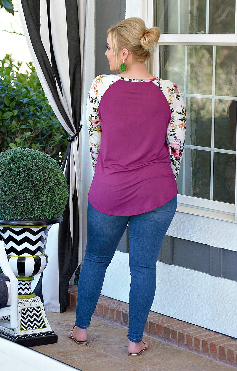 A Little Something Extra Floral Top - Magenta