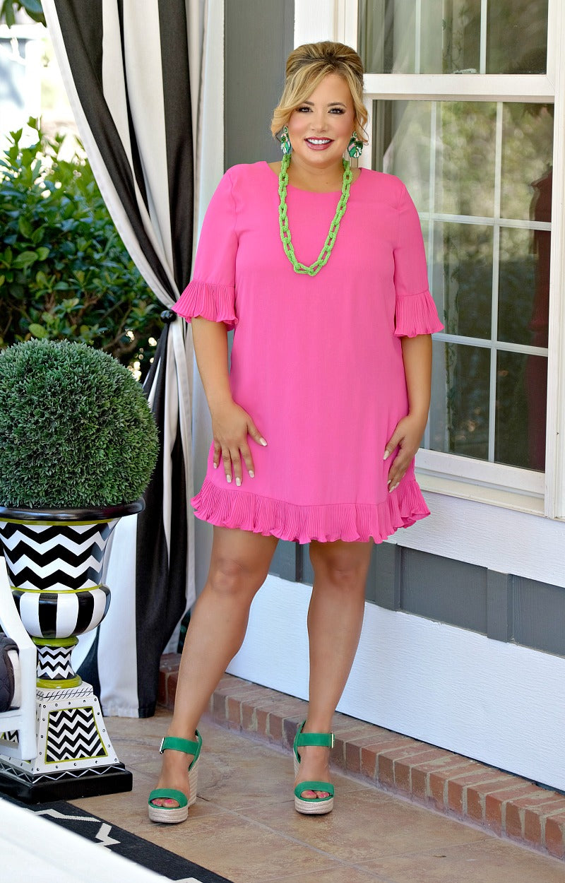 Load image into Gallery viewer, So Much Charm Dress - Hot Pink