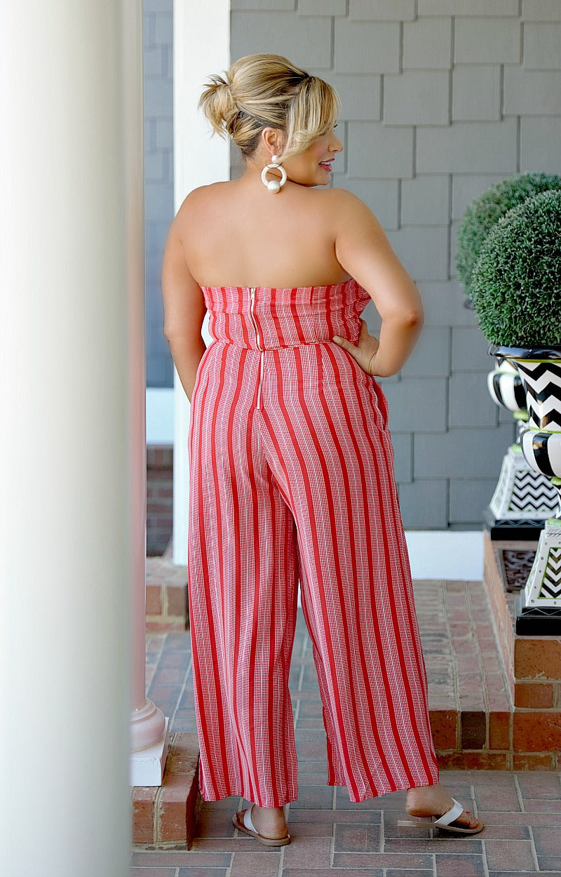Steal Your Heart Striped Jumpsuit - Red
