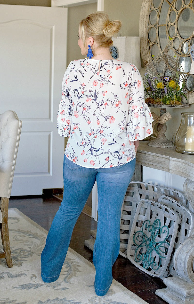 Beautiful Bloom Floral Top - White
