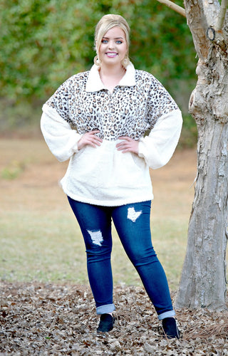 Wanna Bet Leopard Print Pullover - Cream