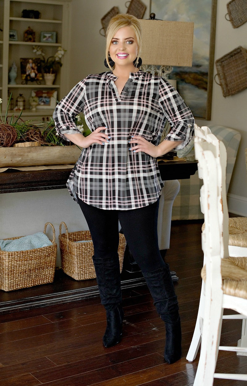Load image into Gallery viewer, Better Luck Next Time Plaid Top - Black/Gray