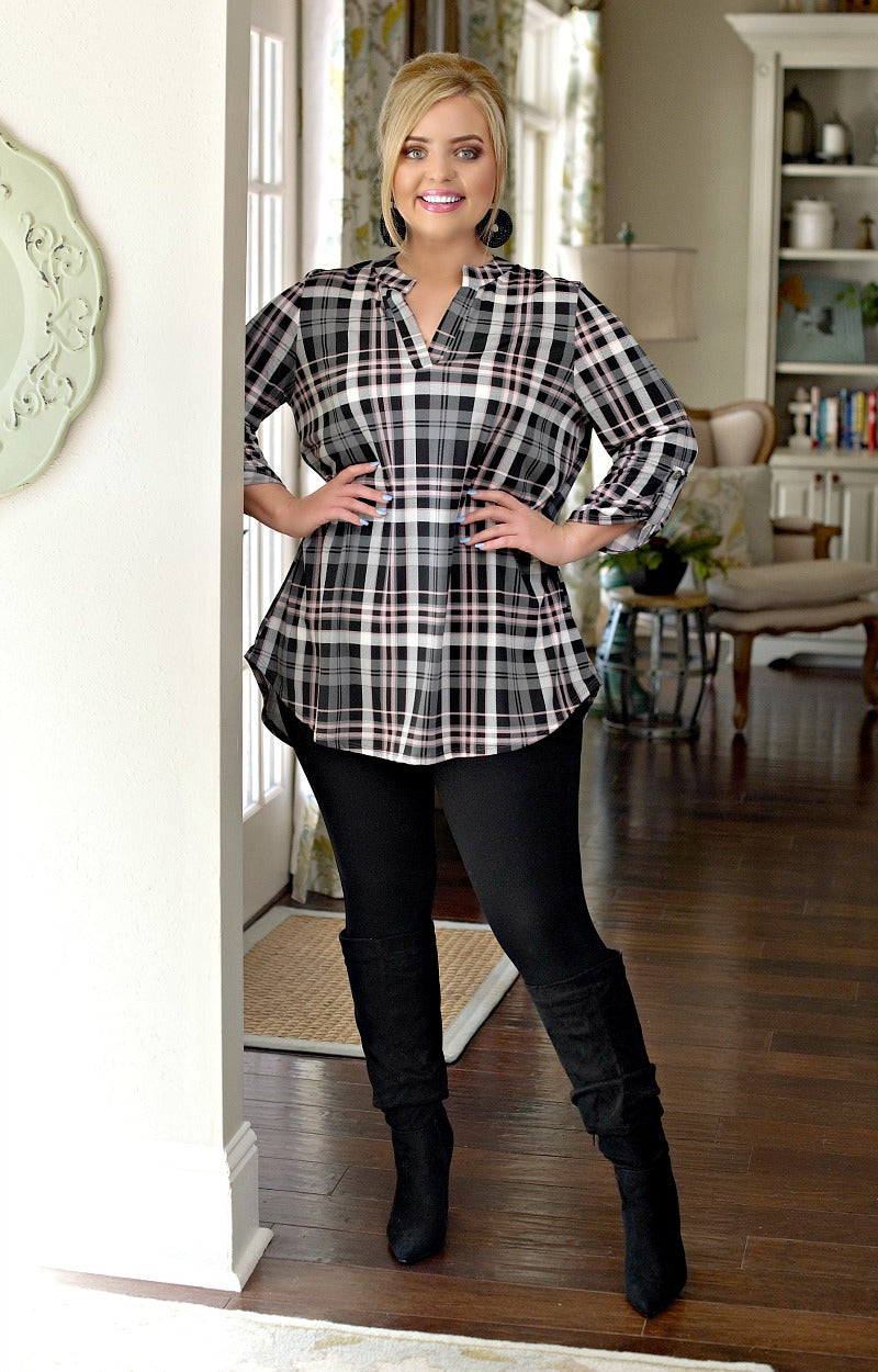 Better Luck Next Time Plaid Top - Black/Gray