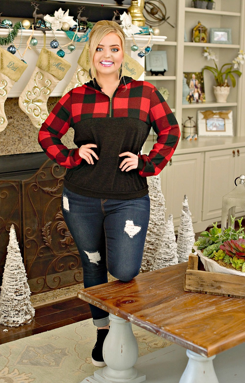 Load image into Gallery viewer, You Were Saying Buffalo Plaid Hooded Pullover