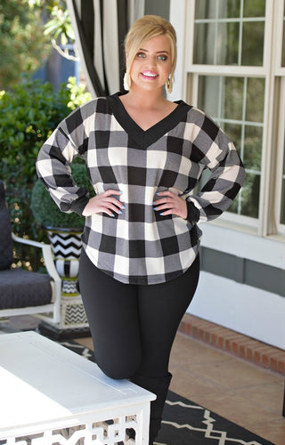Let Him Have It Plaid Top - Black/White