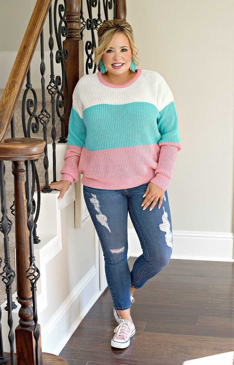 Load image into Gallery viewer, Here To Stay Colorblock Sweater - Mint/Pink