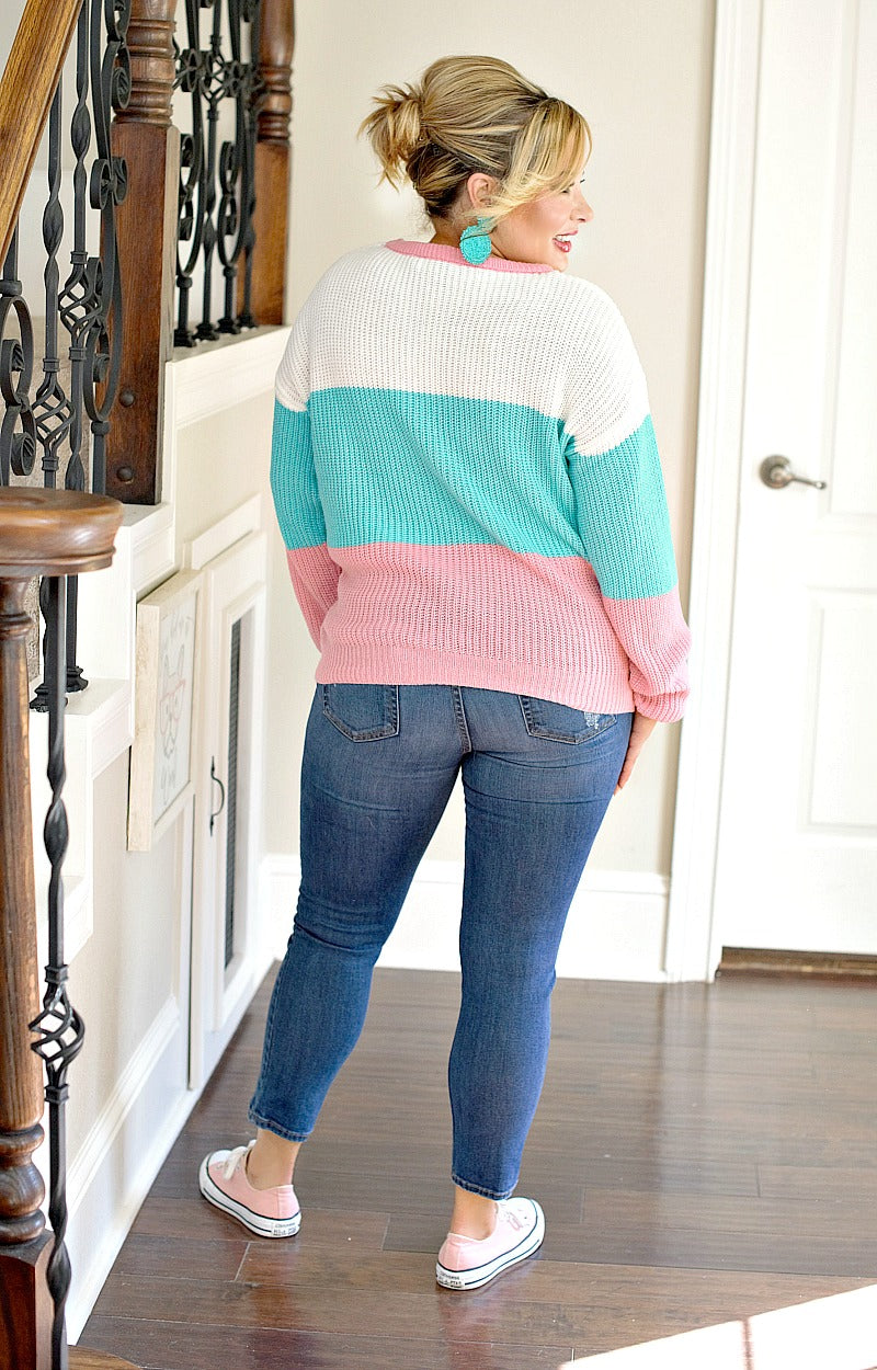 Here To Stay Colorblock Sweater - Mint/Pink