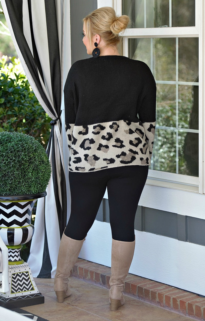 Be Unforgettable Leopard Print Sweater - Black