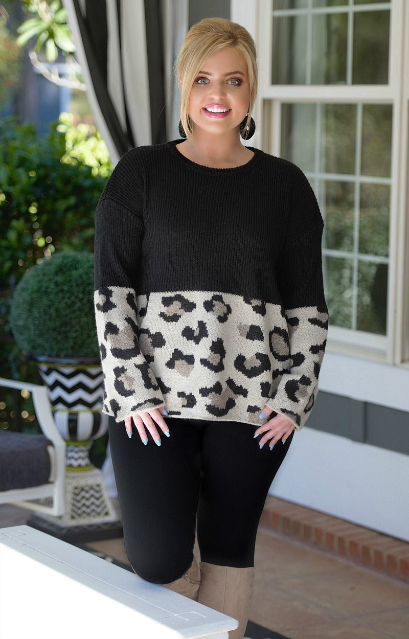 Load image into Gallery viewer, Be Unforgettable Leopard Print Sweater - Black